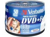 Диск DVD+R Verbatim 4.7Gb 16x Cake Box (50шт) Printable (43512)