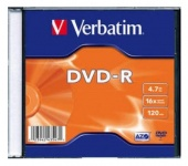 Диск DVD-R Verbatim 4.7Gb 16x Slim case (100шт) (43547)
