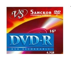 Диск DVD-R VS 4.7 Gb, 16x, Бум.конверт (5), (5/250)