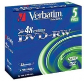 Диск DVD-RW Verbatim 4.7Gb 4x Jewel case (5шт) (43285)